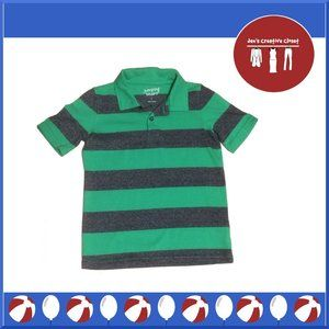 Boys Jumping Beans Green and  Gray Striped Shirt